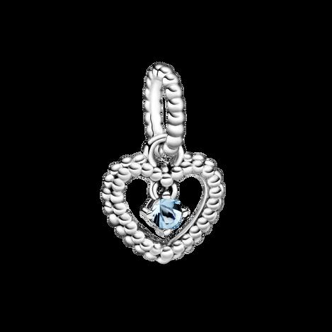 Aqua Blue Beaded Heart Dangle Charm