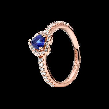 璀璨藍色立體心形寶石戒指