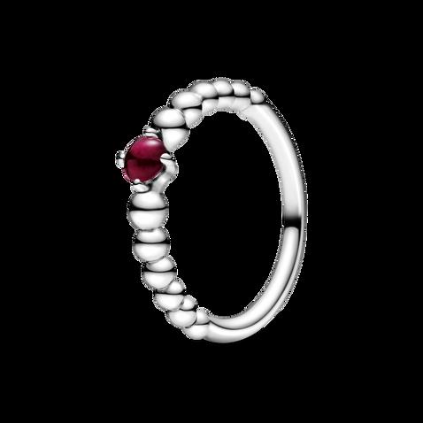 深紅寶石圓珠戒指