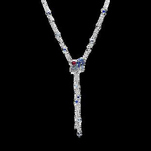Blue & Pink Fan Y-Necklace (2 Ways to Wear)