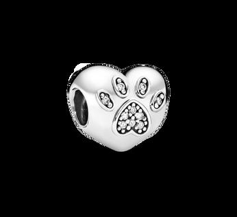 I Love My Pet Paw Print Heart Charm
