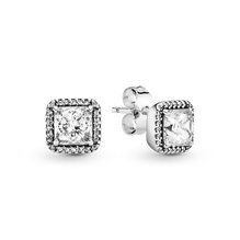 Square Sparkle Halo Stud Earrings