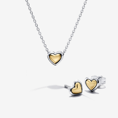 Domed Golden Heart Necklace & Earrings Set