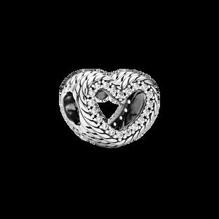 蛇鏈紋鏤空心形串飾