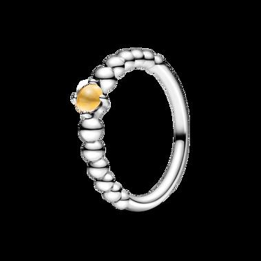 蜂蜜黃水晶圓珠戒指