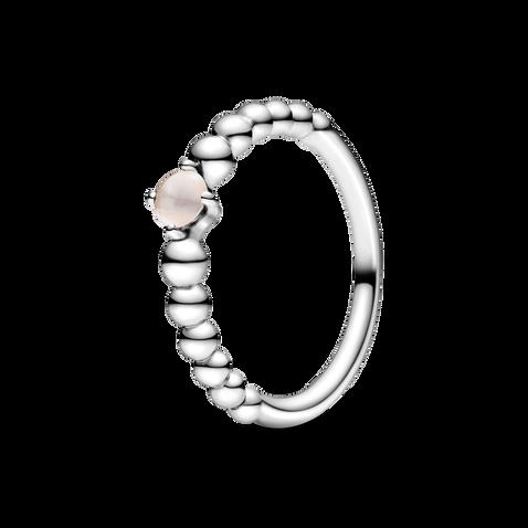 霧玫紅寶石圓珠戒指