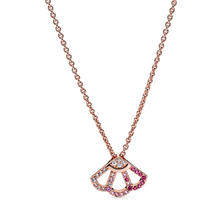 粉紅摺扇短項鏈