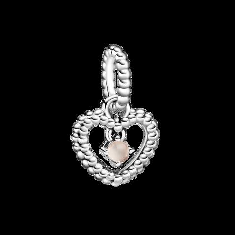 霧玫紅水晶圓珠心形吊飾